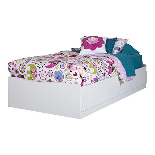 South Shore 10055 Logik Twin Mates Bed (39'') with 3 Drawers, Pure White (White Twin Storage Bed With Bookcase Headboard)