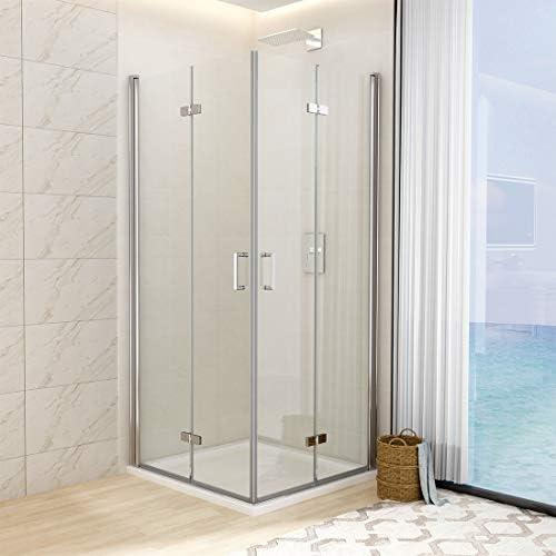 WELMAX - Cabina de ducha para esquina, sin marco, puerta plegable, doble puerta de ducha, mampara de ducha de 6 mm ESG, cristal de seguridad transparente con revestimiento Nano en ambos lados: