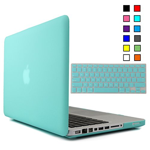 iBenzer - 2 in 1 Multi colors Soft-Touch Plastic Hard Case Cover & Keyboard Cover for Macbook Pro 13 Turquoise MMP13TBL 1
