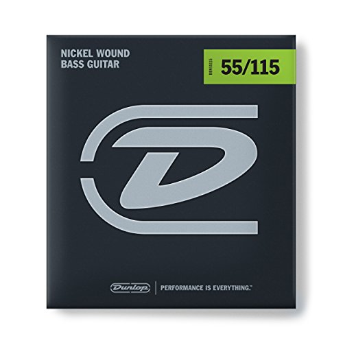 Dunlop DBN55115 Nickel Wound Bass Strings, Extra Heavy, .055-.115, 4 Strings/Set
