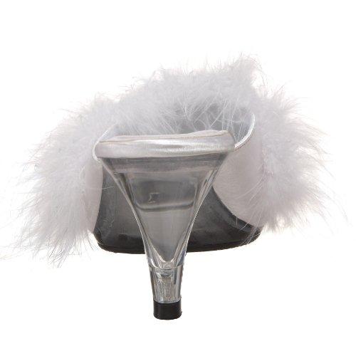 Fabulicious Damen Belle-301f Offene Sandalen Wht Satin-Fur/Clr