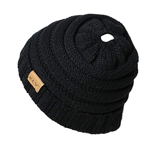 YENJO Casual Curl Edge Wool Knitted Hat with Horsetail Slot Skullies & Beanies