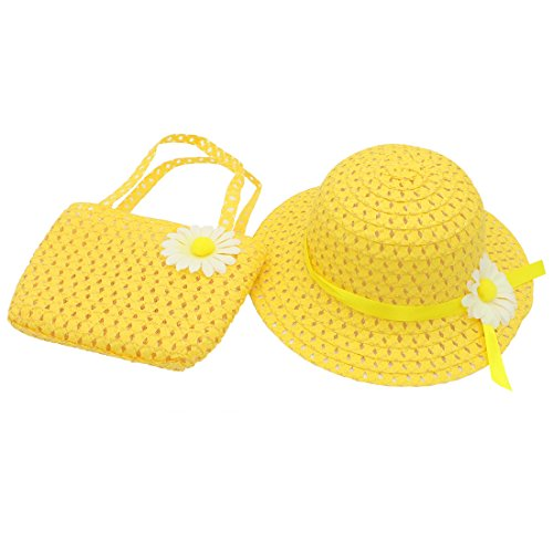 [YOPINDO Floral Straw Sun Hat Beach Cap with Handbag Dress up Tea Party Hat Purse Set (1-5 years old)] (Farmers Dress Up Costumes)