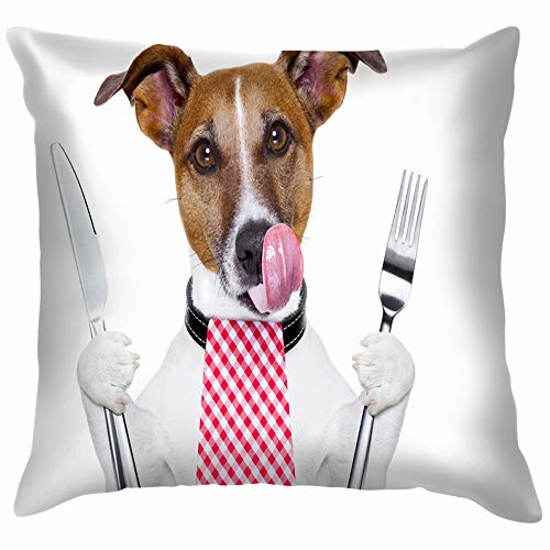 Hungry Dog Knife Fork Dinner Animals Wildlife Food and Drink Soft Cotton Linen Cushion Cover Pillowcases Throw Pillow Decor Pillow Case Home Decor 12X12 Inch ()