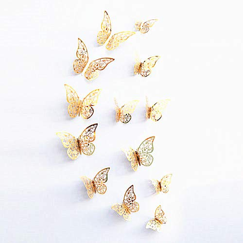 New 12PCS Gold 3D decorazioni Butterfly Wall Stickers Art Decal Home Room Decor (oro – 2) Home - D