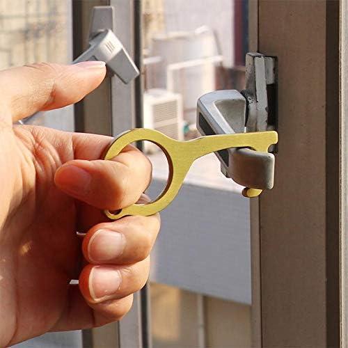 boutons dascenseur de s/écurit/é Obstkorb Ouvre-porte en laiton sans contact ouvre-porte EDC Outil de bouton portable sans contact poign/ée de levage sans contact cl/é en laiton