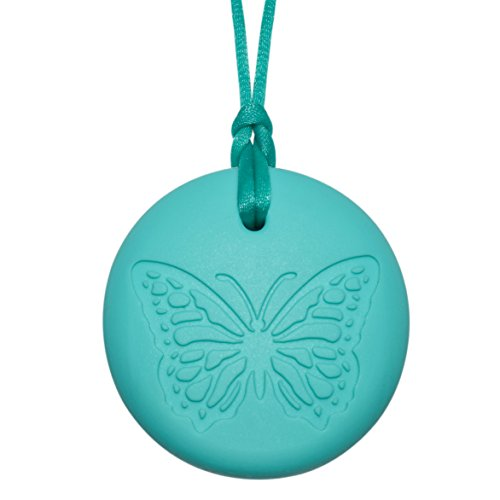 Butterfly Girls' Sensory Chewelry - Chewy Necklace (Aqua) by Munchables Chewelry