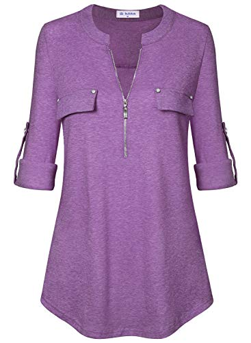 - Bulotus Women's 3/4 Sleeve Tunic Casual Top V Neck Shirt-Solid Color,Purple,Medium
