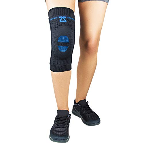 Zensah Elite Knee Compression Sleeve with Patella Gel Pad - Targeted Knee Support for Protection and Pain Relief - Knee Support for Running, Sports, Workout, Gym - Knee Brace (Black, Medium)