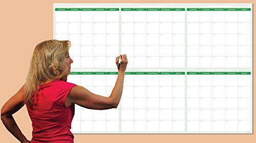 180-Day / 6-Month Dry-erase Horizontal Earth Green Wall Calendar 38 in. X 58 in. - No Weekends