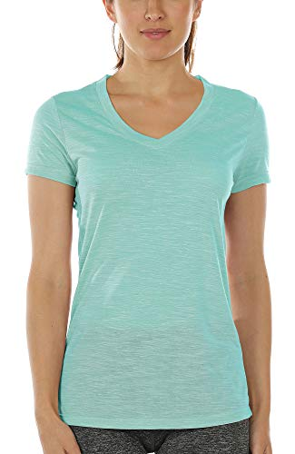icyzone Workout Shirts for Women - Yoga Tops Activewear Gym Shirts Running Fitness V-Neck T-Shirts (Ice Green, S)