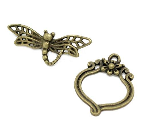 Housweety Bijoux Accessoires -30 Sets Fermoirs Toggle Libellule Couleur Bronze