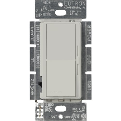 Lutron Diva C.L Dimmer for Dimmable LED, Halogen and Incandescent Bulbs, Single-Pole or 3-Way, DVSCCL-153P-PD, Palladium