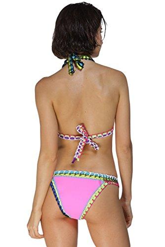 Nuevas señoras luz rosa ganchillo Halter cuello Bikini Swimwear Beachwear verano desgaste tamaño UK 10–�?2EU 38–�?0