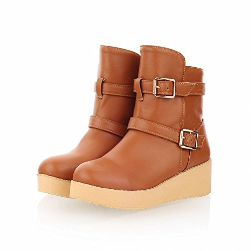 Charm Boots Buckles high Platform Warm Snow Decoration Ankle Brown Latasa Womens 5wRC1qFx