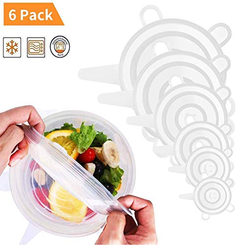 Silicone Stretch Lids, 6 Pack Food Storage Covers Reusable and Expandable Various Sizes Cover for Bowl