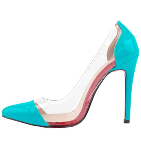 toe Sole Pointed Dress Transparent Red Blue HooH Women's Pump Stiletto ItfFXX