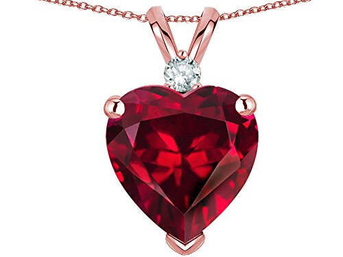 Star K 8mm Created Ruby Heart Pendant Necklace 10k Rose Gold ()