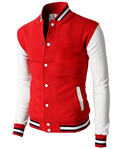 (H2H Mens Slim Fit Varsity Baseball Bomber Cotton Lightweight Premium Jacket  Cmoja082-red Medium)