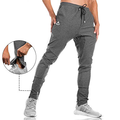 SAMZUEO Men's Jogger Pants Active Basic Running Sweatpants Urban Harem Slim Fit