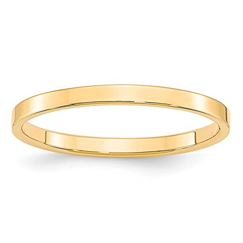 Jewelry Stores Network Solid 14k Yellow Gold 2 mm Lightweight Flat Wedding Band (14k Gold Flat Wedding Band)