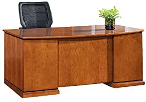 OSP Mendocino Veneer Bow Front Desk Set with Full File and Box,Box File Pedestals