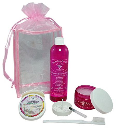 All-Natural Jewellery Cleaner | Deluxe Kit - 4 oz. Liquid Cleaner & 2 oz. Tarnish Remover & Polishing Cream, 12 oz. Liquid Refill, Soft Toothbrush, Organza/Satin Trimmed Tote