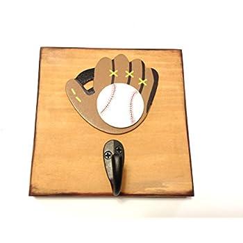Boys Baseball Single Wall Hook Boy Wood Decor Sports Room