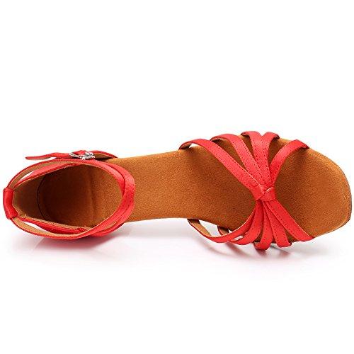 modelo Rojo Ballroom LP217 Estándar Baile Latin Mujer Tacón de 5cm SWDZM Zapatos xPZCwg0Cq