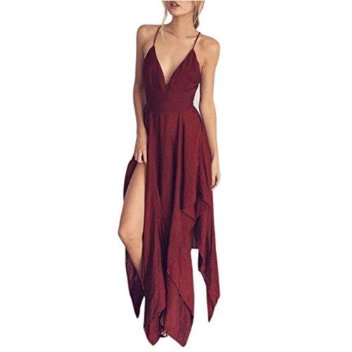 Women Chiffon Sexy Strap Backless Cross Halter Maxi Dress Solid Casual Loose Fit Split Summer Sleeveless Beach Boho (XXL, Red) by Goodtrade8