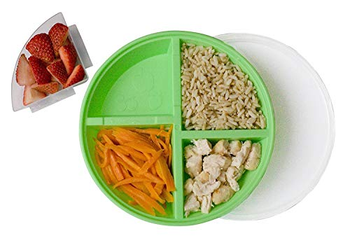 BPA-Free Divided Plates for Kids with Lids [2-Pack] – Microwave & Dishwasher Safe Lunch Containers with Lids for Balanced Meals – Plates with Dividers & Removable Fruit Section [Green/Orange] ()