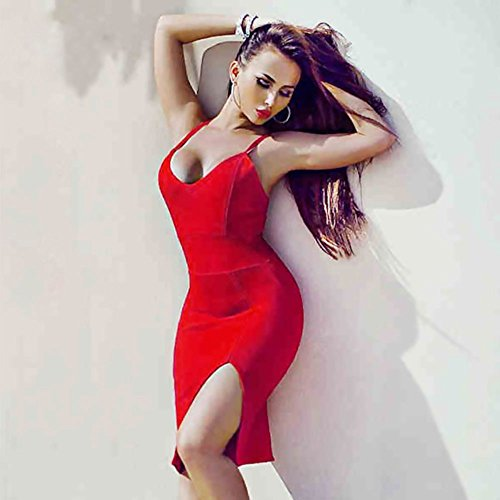 Spaghetti Split Backless Bandage Hlbandage Rojo Side Rayon Strap Dress OqwHptd