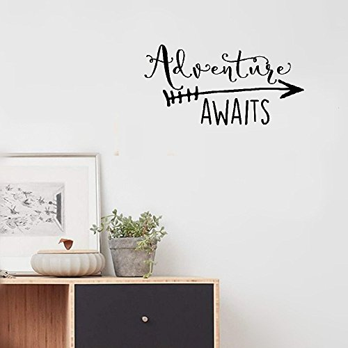 iopmm decorative wall stickers removable Travel Theme Adventure Awaits Vinyl Wall Decal Home Decoration Quotes Kids Bedroom Decor Wall Sticker Art Vinyl Wallpaper by iopmm