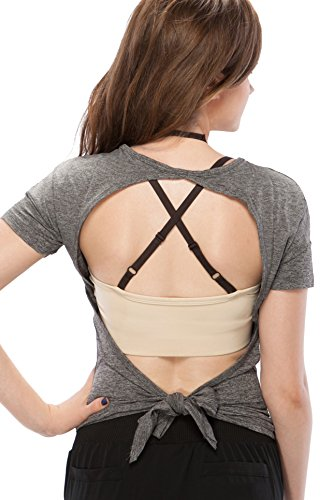Sexy Yoga Workout Active Top Open Back Cowl Back Tie Back Lightweight Breathable T Shirt for Sport Women by Fit Frenchie (Large, Grey) ()