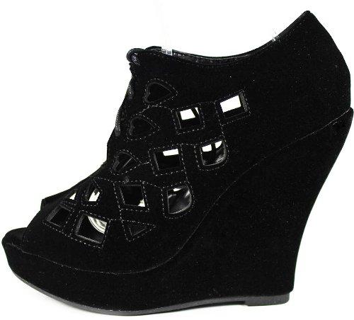 JJF Shoes ERK Black Perforated Cutout Faux Suede Peep Toe Laced Up Platform Wedge Pump-5.5