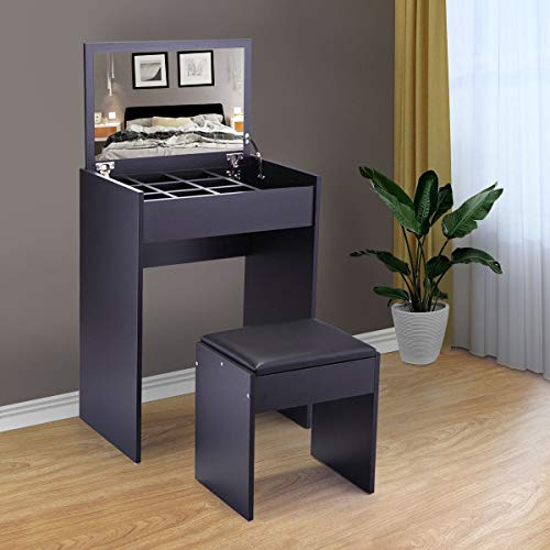 Dressing Desk Vanity Makeup Table W/Flip-up Mirror (Black)