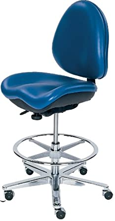 """BodyBilt J707x E1 F1 Blue Vinyl Fabric Mid-Back Task Stool without Arms, 25.5"""" Width x 40.5"""" Height x 21.5"""" Depth, ESD Configuration"""