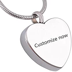 Sunling Custom Brought Happiness Into My Life Engraved Stainless Steel Name Date Heart Urn Necklace for Human Pet Ashes Memorial Keepsake Cremation Pendant for Dad,Mom,Dog,Cat,Free Engraving