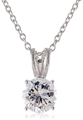Platinum-Plated Sterling Silver Round-Cut Cubic Zirconia Pendant Necklace, 18