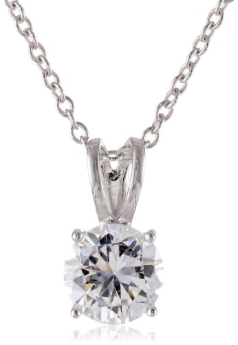 Platinum-Plated Sterling Silver Round-Cut Cubic Zirconia Pendant Necklace, 18″