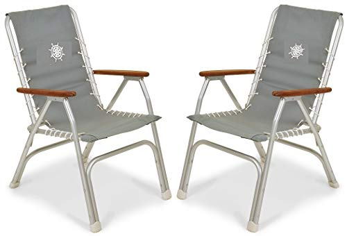 FORMA Marine Set of 2 High Back Deck Chairs, Boat Chairs, Folding, Anodized, Aluminium, Light Grey, Model M150G
