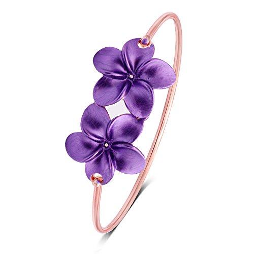 MANZHEN 3 Colors Plumeria Flower Bangle Purple Floral Flower Hook Bangle Bracelet Bridesmaid Gift (Rose Gold)