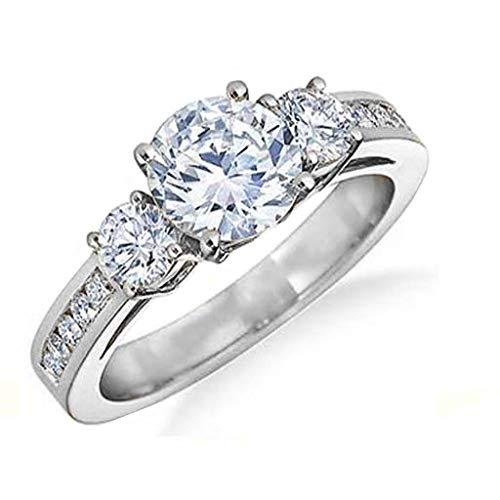 Chamonix Jewelry Womens Tri-Stone Engagement Ring- Womens Cubic Zirconia Round Cut Engagement Ring (7) by Chamonix Jewelry (Image #3)