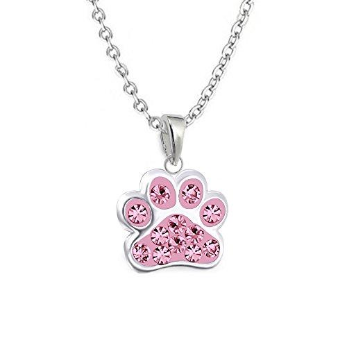 gh1a Rosa Cristal Colgante de huellas de huellas de perro con cadena plata de ley 925niños Set