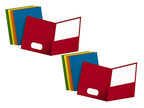 - Set of 2 Oxford Assorted Color Letter Size Twin Pocket Folders (25 per Box) Bundled by Maven Gifts