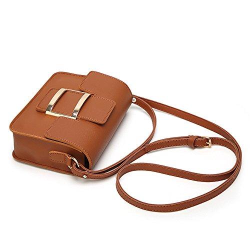 Del Bolso Casual Moda Señoras Brown Las De La Cerradura color Lxy Blanco R6w7Cqx1n