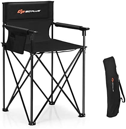 Goplus Folding Camping Chair, Outdoor Portable Beach Chair Heightened Design w Detachable Armrests, Storage Pouches Carrying Bag for Fishing, Picnic, Lawn Black, 250LBS Weight Capacity
