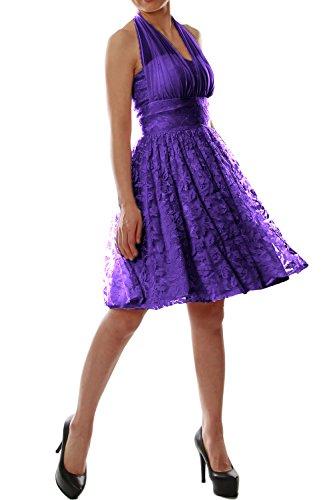 Dress Halter Party Gown MACloth Women Wedding Bridesmaid Lace Violett Cocktail Short 54FXw0Sx