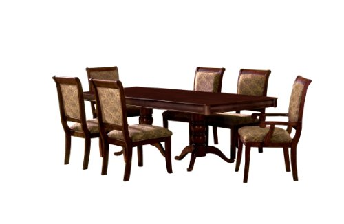 Furniture Of America Bernette 7 Piece Double Pedestal Dining Table Set With 18 Inch Expandable Leaf Antique Cherry Finish