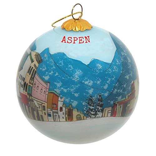 Art Studio Company Hand Painted Glass Christmas Ornament -Town Main Street Winter Aspen
